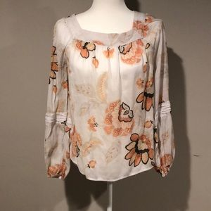 Lauren Conrad Floral Square Neck Peasant Blouse
